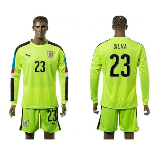 2581f8634 Uruguay Fluorescent green long-sleeved Goalkeeper 23  soccer shirt 2016 2017