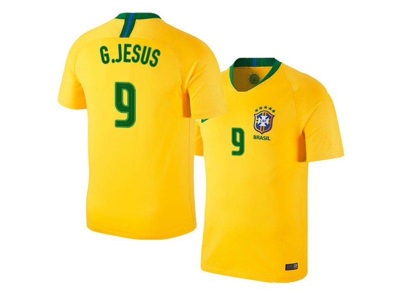 sports shoes 6674e 38977 Brazil Home Gabriel Jesus #9 2018 World Cup HOME Jersey - GOLD