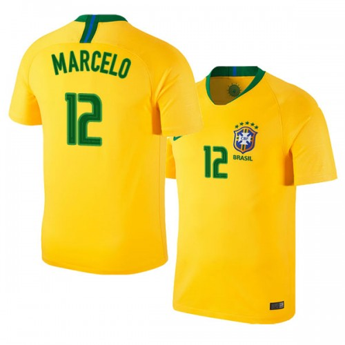 db74ed14d Brazil Home Marcelo  12 2018 World Cup HOME Jersey - GOLD