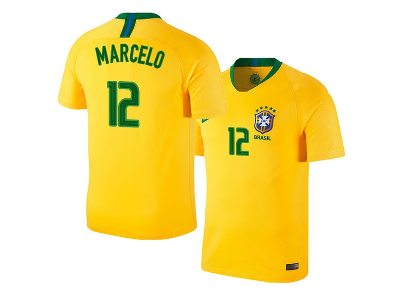 online retailer 5016b 6e757 Brazil Home Marcelo #12 2018 World Cup HOME Jersey - GOLD