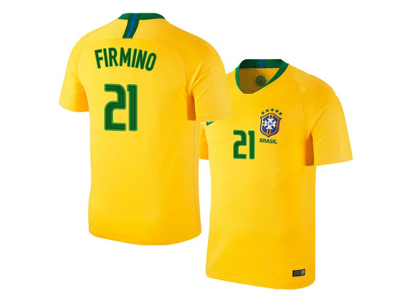 new concept 22465 c614d Brazil Home Roberto Firmino #21 2018 World Cup HOME Jersey ...