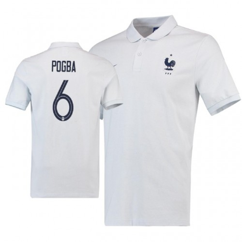 9ff9fc8ff France  6 Paul Pogba Polo White Away Jersey WHITE - 2018 World Cup