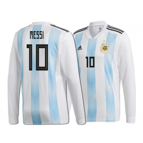 7b61673a614 Argentina Lionel Messi #10 World Cup 2018 Long Sleeve HOME Jersey ...
