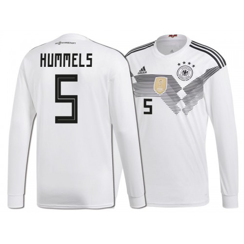bd3dea22d4be Germany Mats Hummels  5 World Cup 2018 Long Sleeve HOME Jersey - WHITE