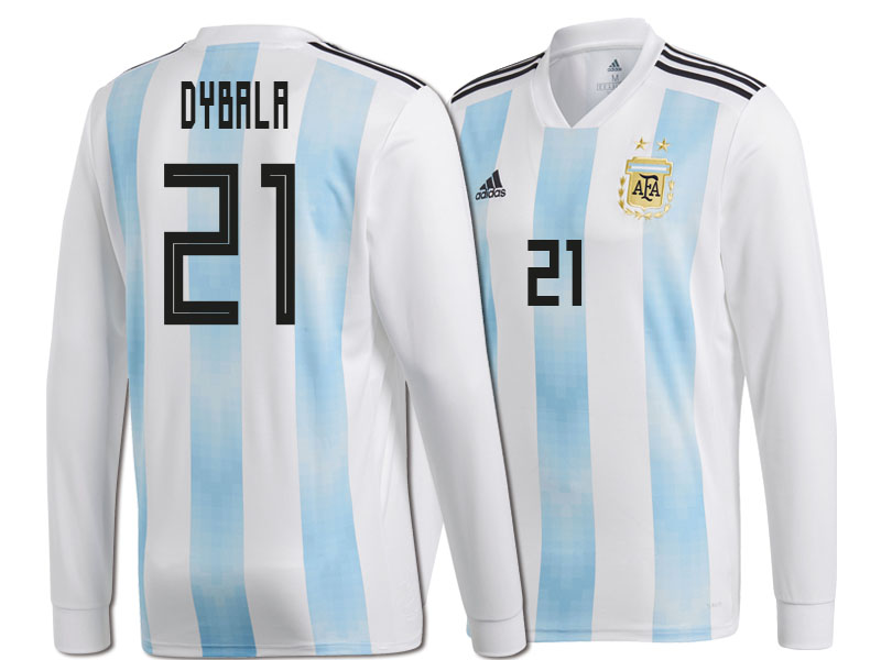 wholesale dealer fda79 5c536 Argentina Paulo Dybala #21 World Cup 2018 Long Sleeve HOME ...