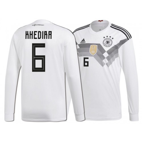 02aeeef6d Germany Sami Khedira  6 World Cup 2018 Long Sleeve HOME Jersey - WHITE