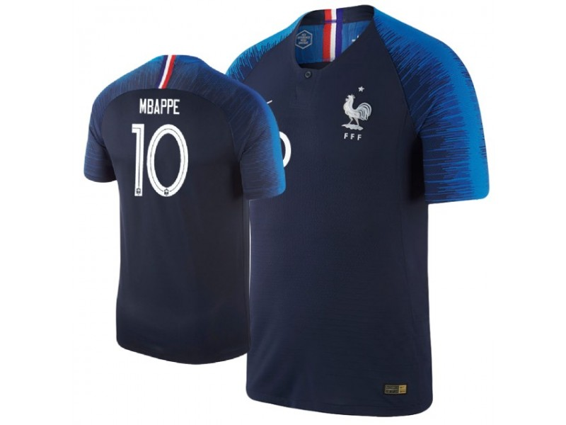 outlet store 3d685 c8f59 France Kylian Mbappe #10 Jersey NAVY - 2018 World Cup