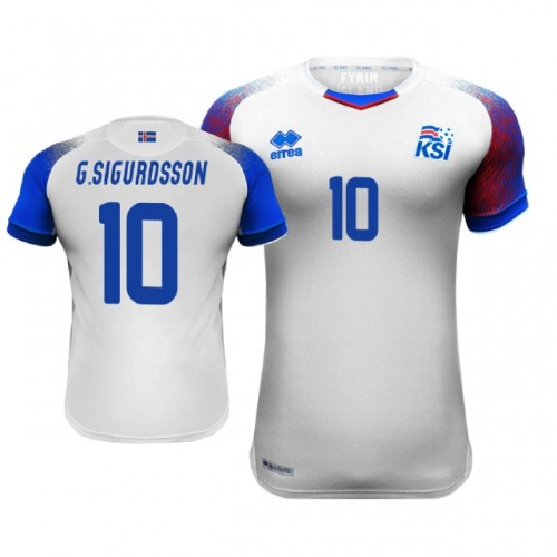 f971e73657b Iceland Gylfi Sigurdsson  10 Away Jersey WHITE - 2018 World Cup