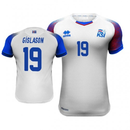 Iceland Rurik Gislason  19 Away Jersey WHITE - 2018 World Cup 5d6fd5622