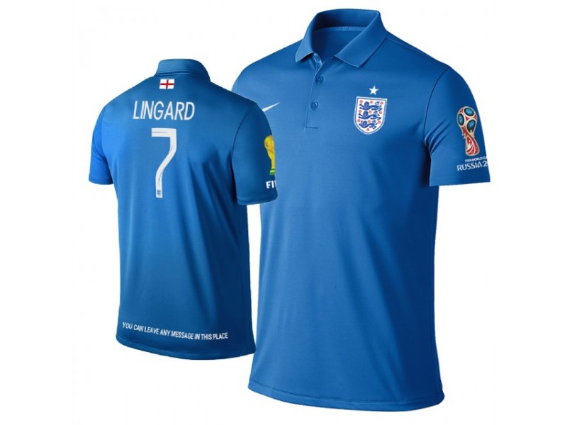 online retailer 8f622 d5724 England #7 Jesse Lingard Trophy Logo Polo Jersey ROYAL ...
