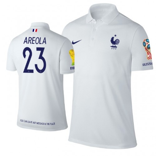24ac5dd3d63 France 2018 World Cup  23 Alphonse Areola Trophy Logo Polo Jersey WHITE