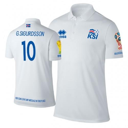 Iceland 2018 World Cup  10 Gylfi Sigurdsson Trophy Logo Polo Jersey WHITE 3590dcdb8