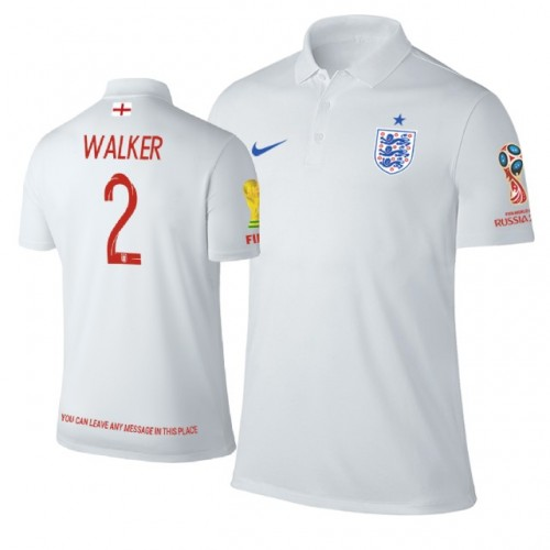 3fbd68628 England  2 Kyle Walker Trophy Logo Polo Jersey WHITE - 2018 World Cup