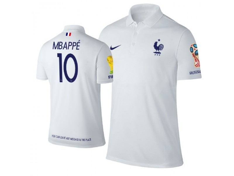 new concept 697b2 76092 France #10 Kylian Mbappe Trophy Logo Polo Jersey WHITE ...