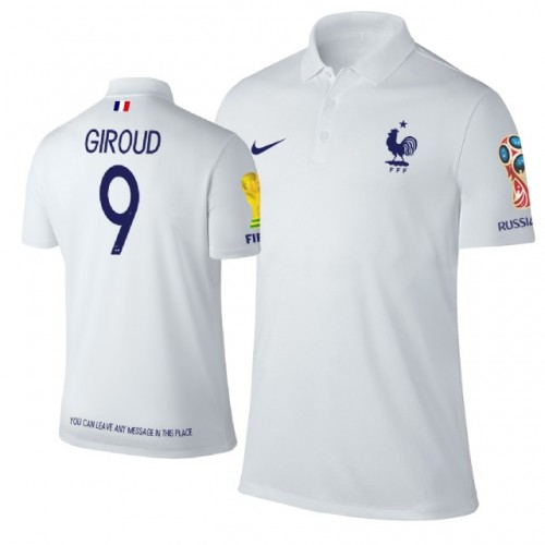 online store d4633 f7479 France #9 Olivier Giroud Trophy Logo Polo Jersey WHITE ...