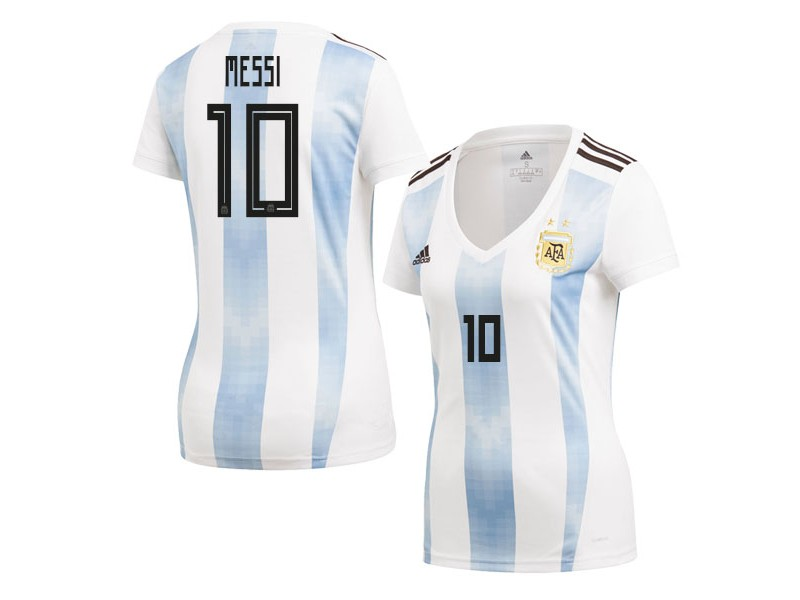 lowest price f9a84 690a6 Women Argentina Lionel Messi #10 2018 World Cup HOME Jersey ...