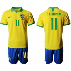 2019/20 Brazil 11 P. COUTINHO Home Authentic Soccer Jersey