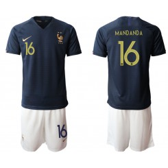 YOUTH 2019/20 France 16 MANDANDA Home Authentic Soccer Jersey
