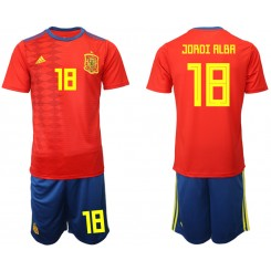 YOUTH 2019/20 Spain 18 JORDI ALBA Home Authentic Soccer Jersey
