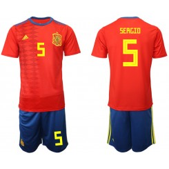 YOUTH 2019/20 Spain 5 SERGIO Home Authentic Soccer Jersey
