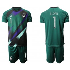France 1 LLORIS Green Goalkeeper UEFA Euro 2020 Authentic Soccer Jersey