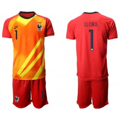 France 1 LLORIS Red Goalkeeper UEFA Euro 2020 Authentic Soccer Jersey