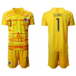 France 1 LLORIS Yellow Goalkeeper UEFA Euro 2020 Authentic Soccer Jersey