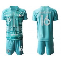 France 16 MANDANDA Blue Goalkeeper UEFA Euro 2020 Authentic Soccer Jersey