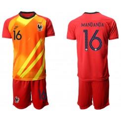 France 16 MANDANDA Red Goalkeeper UEFA Euro 2020 Authentic Soccer Jersey