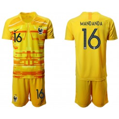 France 16 MANDANDA Yellow Goalkeeper UEFA Euro 2020 Authentic Soccer Jersey