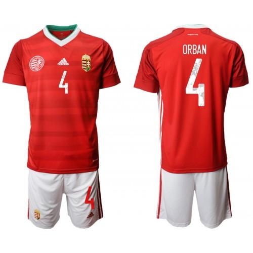 Hungary 4 ORBAN Home UEFA Euro 2020 Replica Soccer Jersey