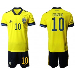 YOUTH Sweden 10 FORSBERG Home UEFA Euro 2020 Authentic Soccer Jersey