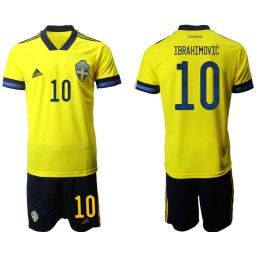YOUTH Sweden 10 IBRAHIMOVIC Home UEFA Euro 2020 Authentic Soccer Jersey