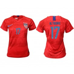USA National Soccer Women's Jersey Red Away #17 2019 World Cup