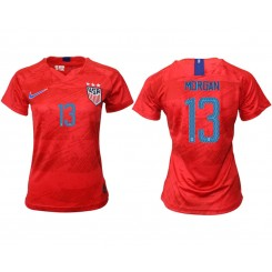 USA National Soccer Women's Jersey Red Away #13 2019 World Cup