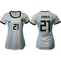 Argentina National Soccer Women's Jersey White Home #21 2019 World Cup