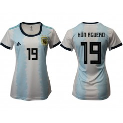 Argentina National Soccer Women's Jersey White Home #19 2019 World Cup