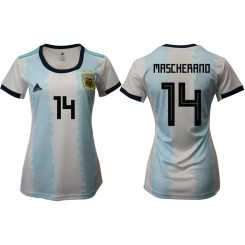 Argentina National Soccer Women's Jersey White Home #14 2019 World Cup