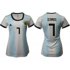 Argentina National Soccer Women's Jersey White Home #7 2019 World Cup