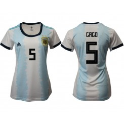 Argentina National Soccer Women's Jersey White Home #5 2019 World Cup