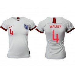 England National Soccer Women's Jersey White Home #4 2019 World Cup