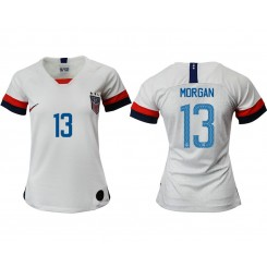 USA National Soccer Women's Jersey White Home #13 2019 World Cup