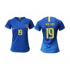 Brazil National Soccer Women's Jersey Blue Away #19 2019 World Cup