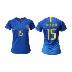 Brazil National Soccer Women's Jersey Blue Away #15 2019 World Cup