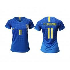 Brazil National Soccer Women's Jersey Blue Away #11 2019 World Cup
