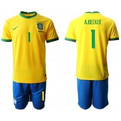 Brazil National Soccer Team 1 A.BECKER Home Jersey