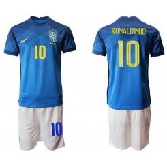 Brazil National Soccer Team 10 RONALDINHO Away Jersey