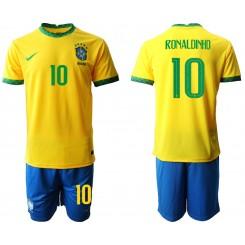Brazil National Soccer Team 10 RONALDINHO Home Jersey