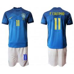 Brazil National Soccer Team 11 P.COUTINHO Away Jersey