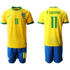 Brazil National Soccer Team 11 P.COUTINHO Home Jersey